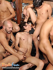 Pervy gay oldies take on multiple twink cumshots